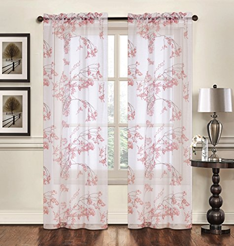 """Creative Home Textiles – Floral Pattern Rod Pocket Sheer Window Panel Curtain Drape Treatment 2 pack – 74"""" wide by 84"""" long (Rust)"""