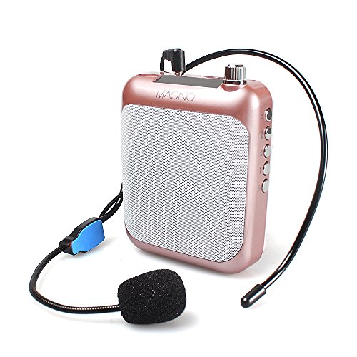Portable Voice Amplifier, MAONO Professional Teacher Microphone with FM, Repeat and Music Player Function for Coaches, Tour Guides, Kindergartener (Rose Gold)