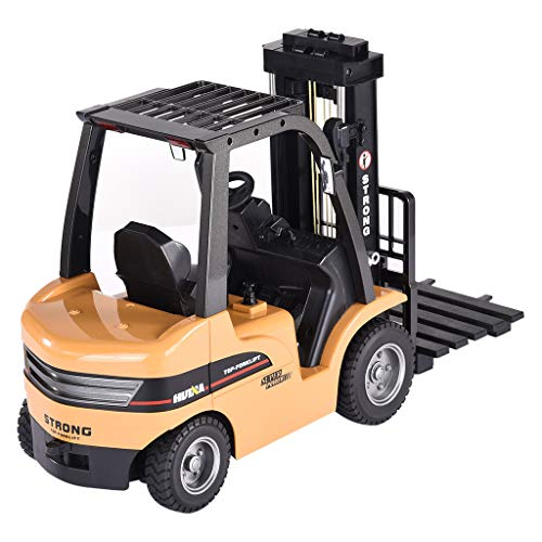 Bravetoshop 2.4G 8CH Alloy 2-in-1 Forklift Truck Crane RC Car RTR for Kids, Large Battery Remote Control Toy Car Metal Model