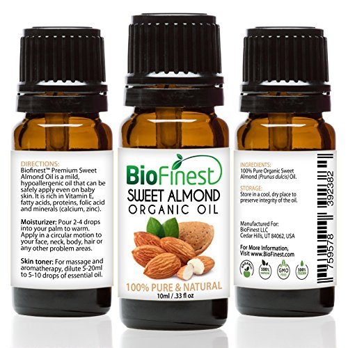 Biofinest Sweet Almond Organic Oil - 100% Pure Cold-Pressed - Premium Quality - Best Moisturizer - Vitamin A/E/K - Remove Dark Circles/Fine lines - Anti-aging - FREE E-Book - Usa So Cap Euro