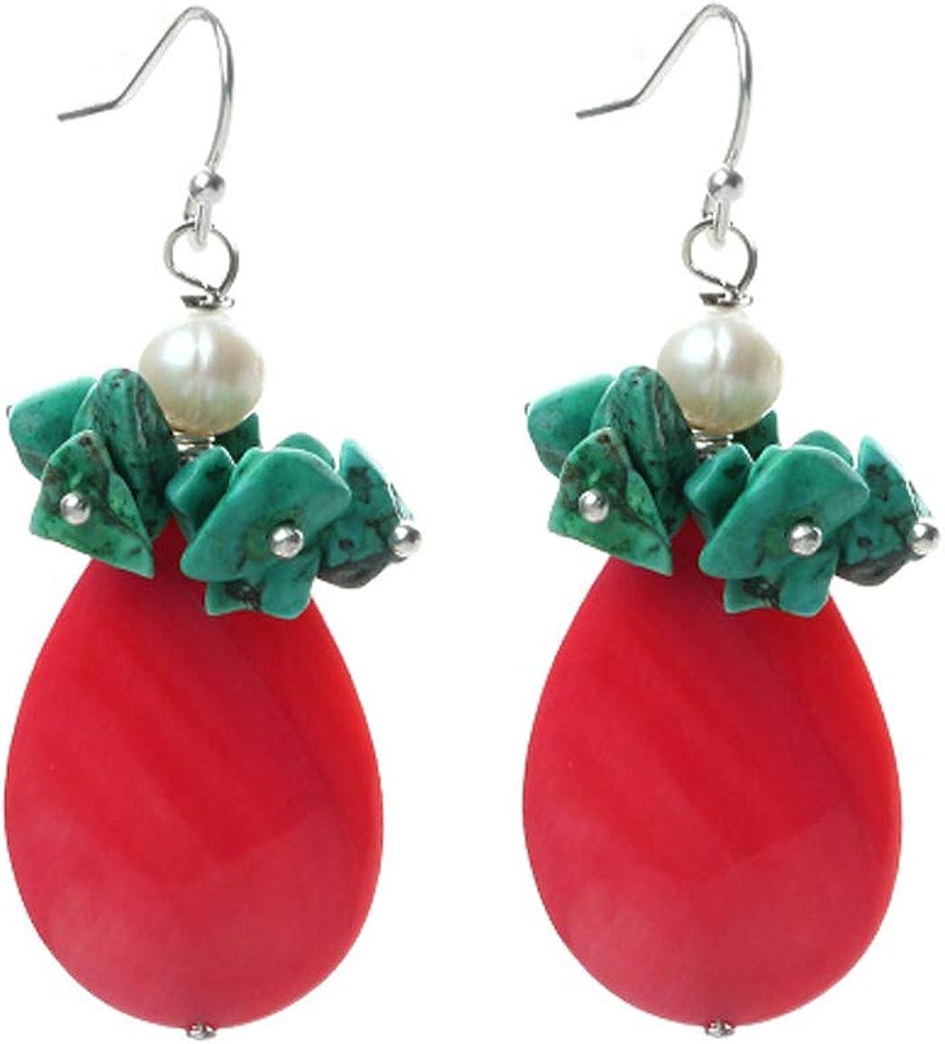 TreasureBay Pendientes de gota de perlas de color rosa, turquesa natural y elegantes perlas