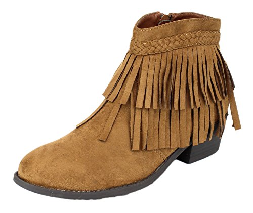 Refresh Womens Tildon-05 Suede Fringe Western Cowgirl Boho Ankle Boot (7.5 B(M) US, Tan)