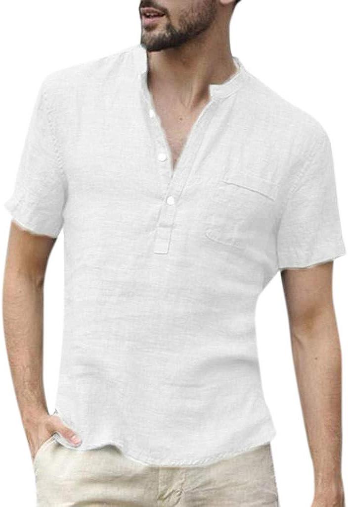 Camisetas Manga Corta Retro Tops, Blusa Holgada de los Hombres Sabana de Algodon: Amazon.es: Ropa y accesorios