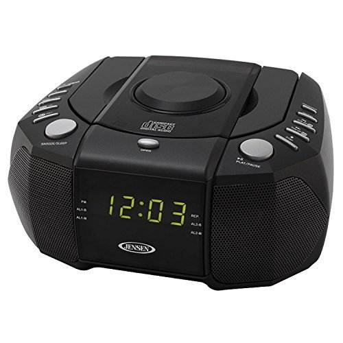 Jensen Dual Alarm Clock Radio with Top-Loading CD Player & Large Easy to Read Backlit Display Plus 6ft Aux Cable to Connect Any Ipod, Iphone or Mp3 Digital Audio Player by Jensen