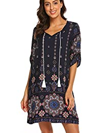 Women's Vintage Ethnic Style Printed Tassel Tie Neck Loose Fit Bohemian Tunic Dress