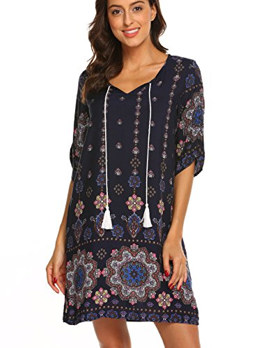 (Halife Women 3/4 Sleeve Shift Dress Boho Tribal Print Summer Beach Dress Sundress Navy Blue,M)