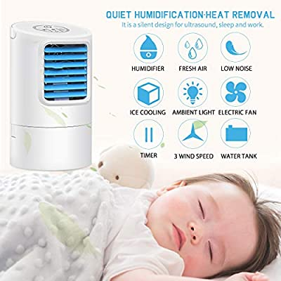 GREATSSLY Portable Air Cooler, Small Desktop Fan 3 Degree Changeable Angle Adjustable Compact Super Quiet Personal Table Fan Mini Evaporative Air Circulator Cooler Humidifier