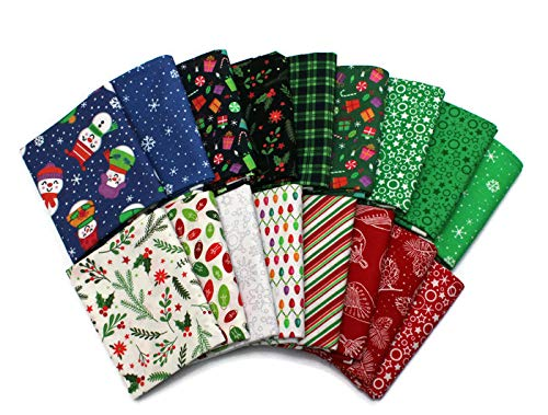 Christmas Fat Quarter Bundle - 10 Fat Quarters - Assorted Patrick Lose Christmas Cheer Holidays Red Green White Quality Quilters Cotton Fabrics M222.18