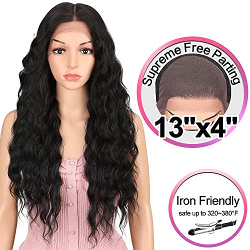 (JOEDIR 26¡± Deep Curly Wavy Supreme Free Parting Lace Frontal Wigs High Temperature Synthetic Human Hair Feeling Wigs For Black Women 180% Density Wigs Ombre Color)