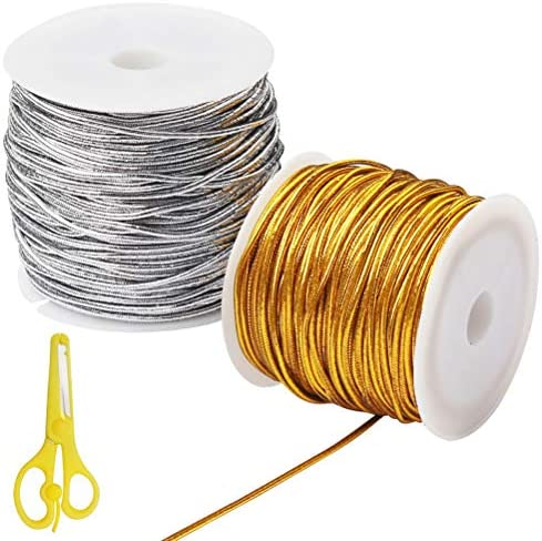Pengxiaomei 2 Rolls Craft Gift Wrap Cord,Metallic Tinsel Cord Rope for Craft Making Gift Wrapping,Gold Tinsel Cord for Crafts 25m/82ft Gold 1mm with One Scissors
