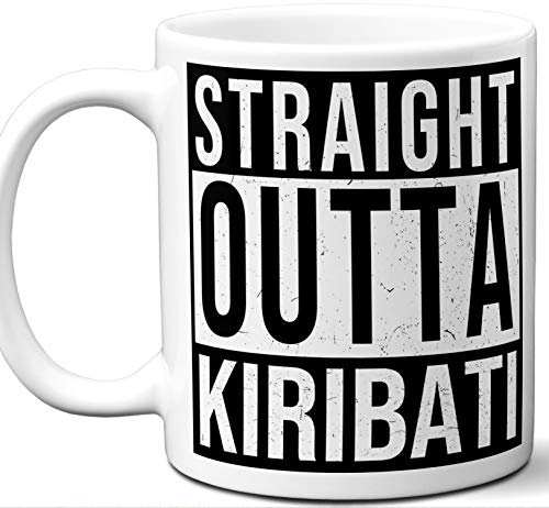 Kiribati Souvenir Gift Coffee Mug. Unique I Love Country Tea Cup Flag Shirt Jersey Map Travel Scarf Tshirt Pin Art Patch Hat Men Women Birthday Mothers Day Fathers Day Christmas.