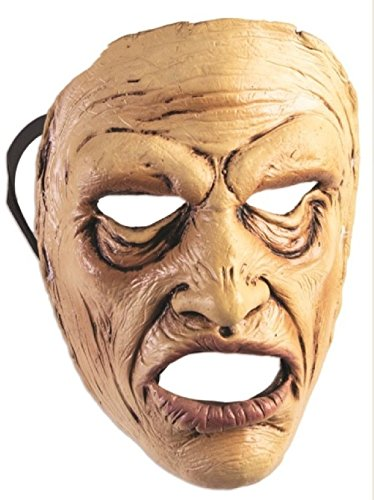 Wow Man Frontal Face Mask Scary Old In Pain Halloween Adult Costume (Old World Vampire Costume)