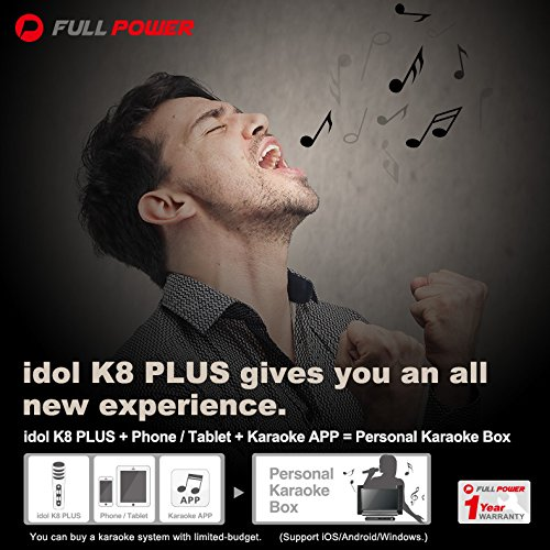 Idol K8 Plus Karaoke Singing Practice Kit | Wired | Condenser Microphone with Noise Reduction On-Ear Headphone | Carrying Case Included (Champagne Gold + HiFi Headphone) by Full Power (Image #6)