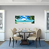 Bilder-Strand-Palmen-Wandbild-100-x-40-cm-Vlies-Leinwand-Bild-XXL-Format-Wandbilder-Wohnzimmer-Wohnung-Deko-Kunstdrucke-Blau-1-Teilig-100-MADE-IN-GERMANY-Fertig-zum-Aufhngen-603312a