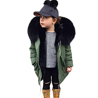 2801fab07187 Amazon.com  Yezijin Kids Children Thick Cotton Hooded Jacket Parka ...