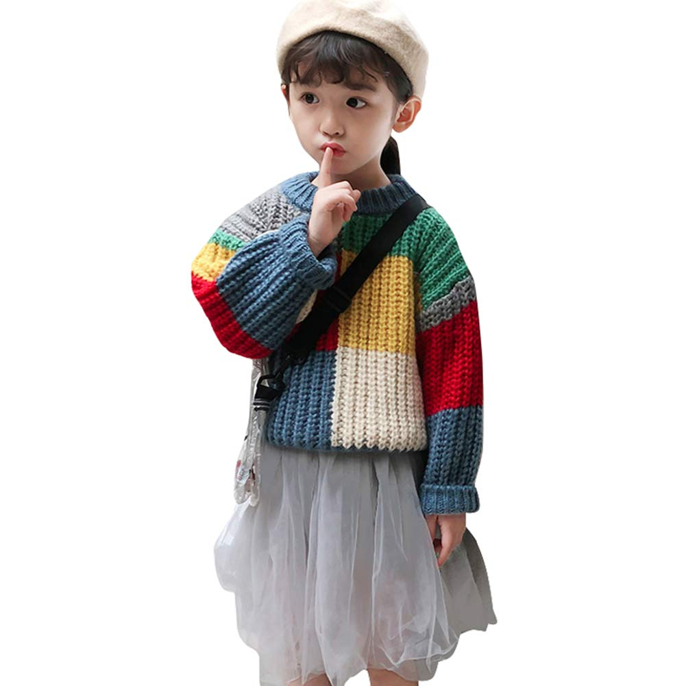 JHION Toddler Baby Boy Girl Cable Knit Pullover Rainbow Sweater Cotton Lined Warm Sweatshirt 2-3T