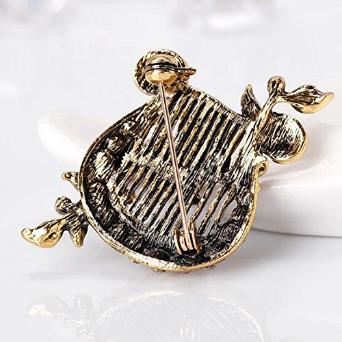 Modogirl Harp Brooch Pin Musical Instrument Brooches Safety Pins Flower Corsage Gold Plated for Girls Women Prom