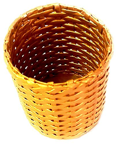 Gold 2019 Collection of Kids Dustbin/Waste Basket (Size: Small) Handmade out of Paper Ropes