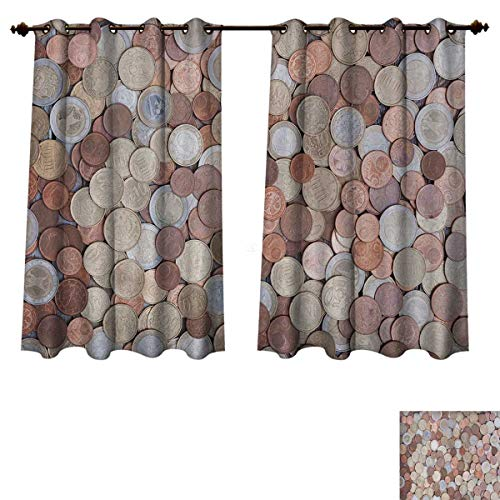 Anzhouqux Money Blackout Thermal Curtain Panel Close Up Photo of Coins European Union Euros Cents on Rustic Wooden Board Patterned Drape for Glass Door Bronze Silver Yellow W52 x L63 inch