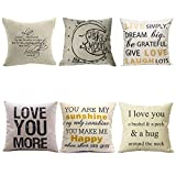 Decorative Pillow Cover - WUWE Cotton Linen Square Vintage Throw Pillow Case Shell Decorative Cushion Cover Pillowcase LOVE series (pack of six)