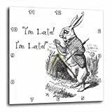 3dRose Alice in Wonderland White Rabbit I'm Late John Tenniel Illustration Wall Clock, 15 by 15″ Review