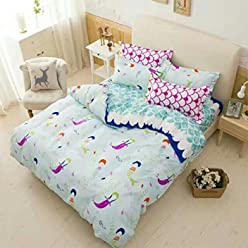 Cliab Owl Bedding Little Girls Twin Size Kids Bed Sheets Duvet Cover Set 5 Pieces Fitted Sheet Included
