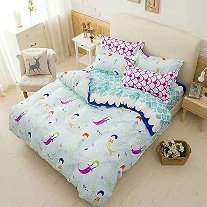 Wonderful Cliab Little Mermaid Bedding Set Twin Size Sheets For Kids Girls Duvet  Cover Set 5 Pieces