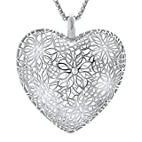 Amorucci Rhodium Plated Sterling Silver Infinity Heart Pendant Necklace with Chain, Fine Jewelry Necklace for Women