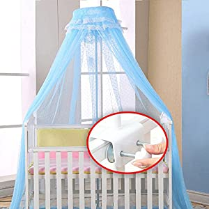WALLER PAA Baby Crib Mosquito Net Princess Dome Bed Netting Newborn Bedding Canopy (Blue(Net+Holder))