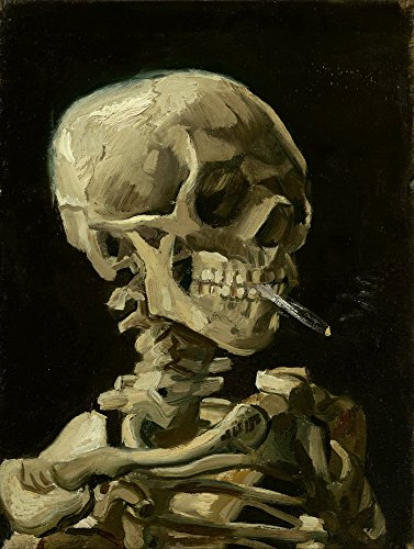 Vincent Van Gogh Giclee Canvas Print Paintings Poster Reproduction  Head Skeleton Burning Cigarette