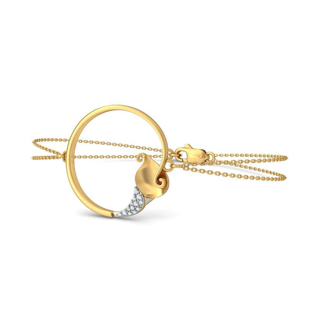8 inches HallMarked identification-bracelets Size 0.058 cttw Round-Cut-Diamond IJ| SI 14K Yellow Gold