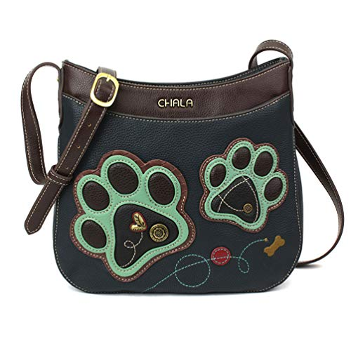 Chala Crescent Crossbody with Adjustable Strap - Pawprint - Navy