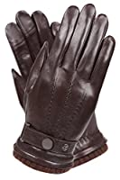 Men's Texting Touchscreen Winter Warm Sheepskin Leather Daily Dress Driving Gloves Wool/Cashmere Blend Cuff