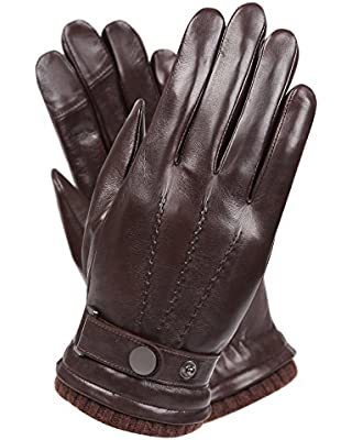 WARMEN Men's Texting Touchscreen Winter Warm Leather Driving Gloves (9.5, Brown)