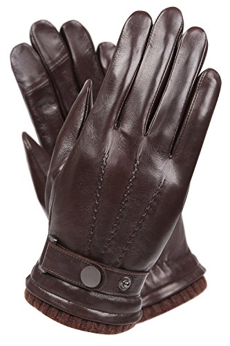 WARMEN Men's Texting Touchscreen Winter Warm Leather Driving Gloves (8.5, ()