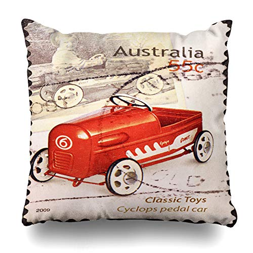 LALILO Throw Pillow Covers, Italy September Car Australian Stamp Aged Antique Australia Double-Sided Pattern for Sofa Cushion Cover Couch Decoration Home Gift Bed Pillowcase 18 x 18 Inch