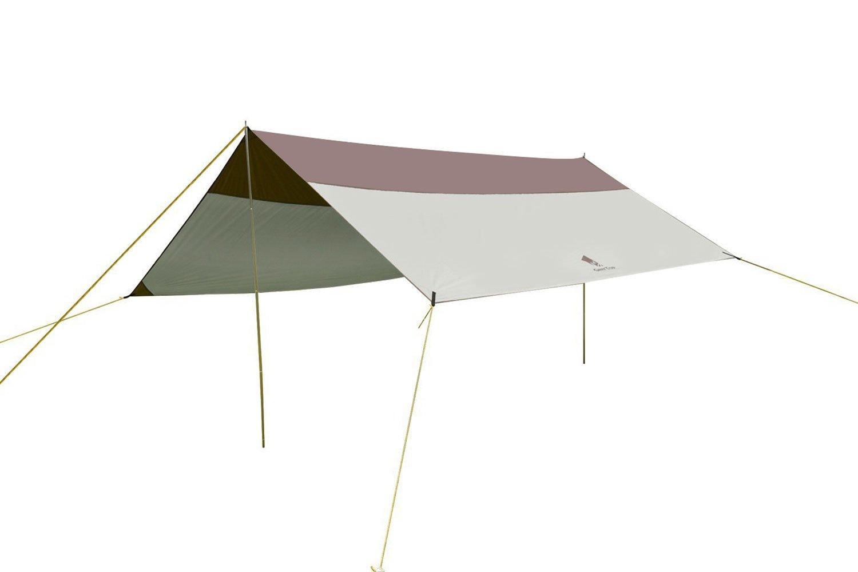 GEERTOP Sonnensegel Tarp Außenzelt Wasserdicht 5 - 8 Personen für Camping - 500x440 cm (2,9 kg) - Inklusiv Zeltstangen - Grau