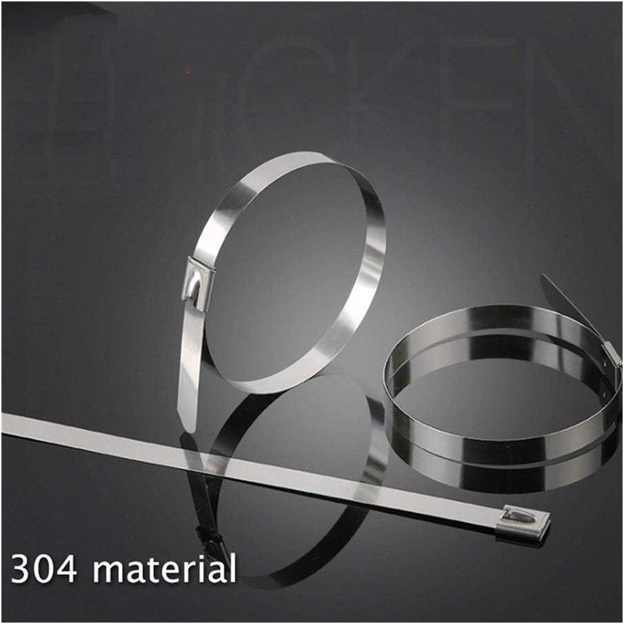 Empty 100PCS 4.6x300mm 4.6x200mm 4,6x150 mm .6x100mm Metal del Acero Inoxidable de Cable de Seguridad Abrazaderas de plástico Duradero GAGEAA (Color : 4.6x200mm 100pcs)