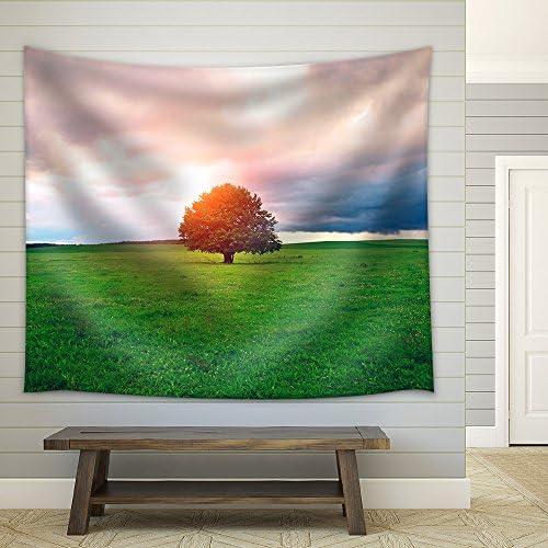Single Oak Tree in Field Under Magical Sunny Sky Fabric Wall