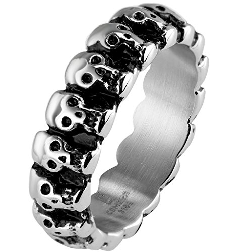 Kingray Jewelry Gothic Stainless Steel Skull Ring Wedding Band Biker Halloween Cocktail Party (7)