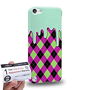 Case88 [Apple iPod Touch 5] 3D impresa Carcasa/Funda dura para & Tarjeta de garantía - Art Fashion Melting Argyle Pattern