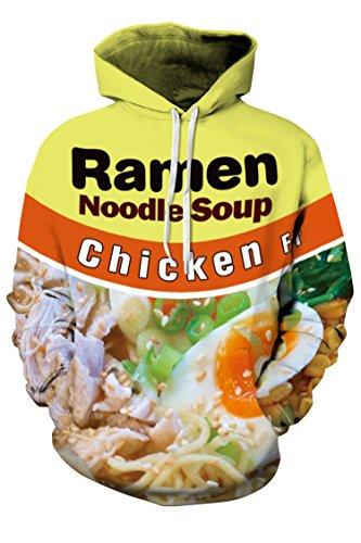 BLAU GRUN Unisex Noodle Soup Printed Pockets Drawstring Sweatshirt S Pattern #12 by BLAU GRUN