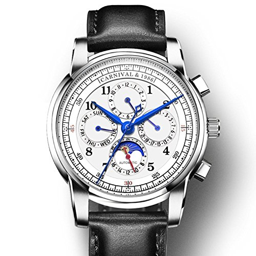 Swiss brand men's automatic mechanical watch sapphire waterproof multi-functional date moon calf leather strap (Black (Black Dial Sapphire Swiss)