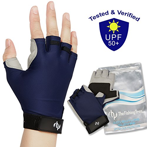 UV SUN PROTECTION GLOVES For Men & Women, Certified UPF50+, Father's Day Gift, Half Finger Glove Fishing, Sailing, Kayaking, Driving, Golfing, Fingerless, FREE Of Chemicals, Machine Washable, XL to XS