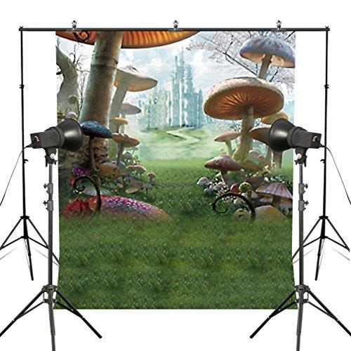 MUEEU 8x8ft Mushroom Fairy Tale Backdrops Wonderland Photography