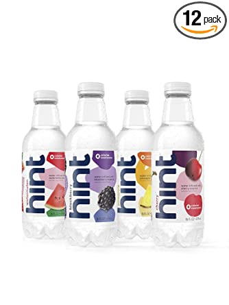 Hint Fruit Infused Water Variety Pack, (Pack of 12) 16 Ounce Bottles, 3 Bottles Each of: Cherry, Watermelon, Pineapple, and Blackberry, Unsweet Water