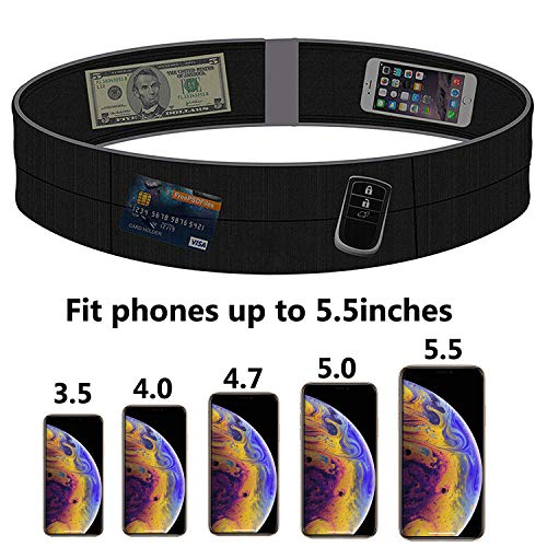 Running Belt for Man and Women, Fitness Belt(L), Flip Waist Belt with Key Clip,Fits Any Size Cell Phone for Gym Workouts, Exercise, Cycling, Walking, Jogging, Yoga, Sport, Travel & Outdoor Activities