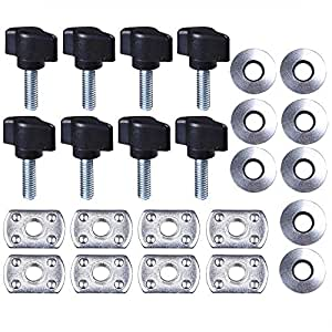 Hard Top Thumb Screw,Quick Removal Change Kit of 8 Tee Knobs Set For Jeep Wrangler YJ/TJ/JK 1987 - 2016(Black)