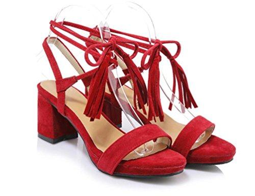 SHFANG Sandalias de verano de las señoras Talón áspero Heels Cinturón lateral simple de la hebilla Fringed Cross Bandage Partido de las compras Tres colores los 6cm Red