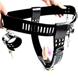 Eastern Delights Women's Lock Female Masturbation Adjustable Leather Chastity Belt Device with Handcuffs
